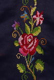 Embroidery by needle. Embroidery made by needle using Silk, used to decorate clothing in the Middle royalty free stock photography