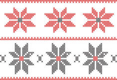 Embroidery needle work pattern with borders and flowers. Make a great design with this instruction on any material you want. Embroidery needle work pattern with Royalty Free Stock Images