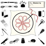 Embroidery & Needlework Icons. Collection of 20 tools and supplies for embroidery, needlework, applique, bargello, brocade, crewel, cross-stitch, needlepoint Stock Photos
