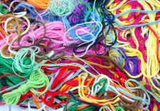 Embroidery nightmare. Leftover embroidery floss from years of projects Royalty Free Stock Image