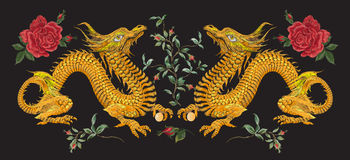 Embroidery oriental floral pattern with dragons and roses. Royalty Free Stock Images
