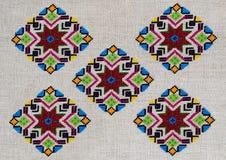 Embroidery ornament figure hemp canvas diamond rhombus lozenge star Stock Photo