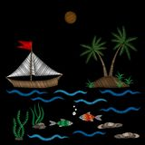 Embroidery palm tree and boat on wave with fish stitches imitati. On isolated on the black background. Embroidery for logo, label, emblem, sign, poster, t-shirt Stock Images