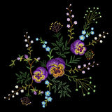 Embroidery pancies floral pattern small branches wild herb with little blue violet field flower. Ornate traditional folk fashion p. Atch design neckline black Royalty Free Stock Image