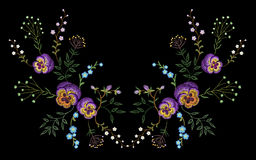 Embroidery pancies floral reflection small branches wild herb with little blue violet field flower. Ornate traditional folk fashio Stock Photos