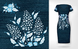 Embroidery patch vintage flowers. Show embroidery on denim and dress mockup.   Stock Photos