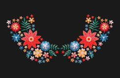 Embroidery pattern with bright colorful flowers for neckline. Floral design for collars of fashion blouses and t-shirts. Vector vector illustration