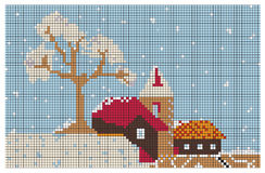 Embroidery pattern Christmas town and trees Stock Photo