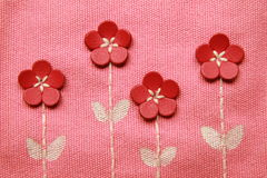 Embroidery pattern on fabric Royalty Free Stock Photography