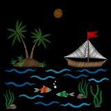 Embroidery pattern with palm tree and boat on wave with fish sti. Tches imitation isolated on the black background. Embroidery for logo, label, emblem, sign Stock Photos