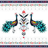 Embroidery Pattern With Peacocks Royalty Free Stock Photography