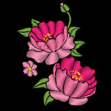 Embroidery. Pink peonies with leaves. Embroidery royalty free illustration