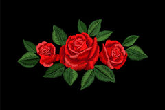 Embroidery red rose. Fashion patch decoration sticker. Flower embroidered ornament arrangement. Traditional ethnic fabric textile Stock Photography