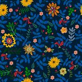 Embroidery repeat pattern with ethnic flowers. Vector seamless floral patch for clothing design stock illustration