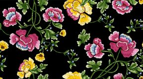 Embroidery repeat pattern with simplify flowers and berries. Embroidery seamless pattern with simplify flowers and berries. Vector embroidered floral meadow Stock Photos