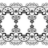 Vintage seamless lace pattern - vector lace repetitive emrboidery design, retro wedding art in black on white background royalty free stock photos