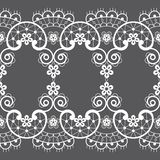 Seamless pattern - vintage lace design style, retro wedding art in white on gray background royalty free illustration