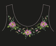 Embroidery romantic ethnic neck line floral pattern with dog ros Stock Image