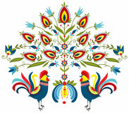 Embroidery roosters. Polish folk - traditional design with floral Stock Images