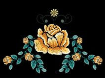 Embroidery Rose Ornament. Decorative embroidery design with roses floral ornament Stock Image