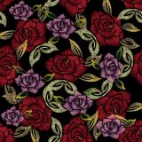 Embroidery roses seamless pattern. Vector floral ornate backgrou Royalty Free Stock Photo