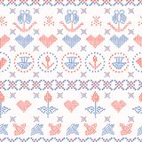 Embroidery Sampler Stitches Seamless Vector Pattern. Hand Drawn vector illustration