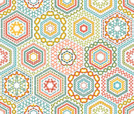Embroidery seamless hexagons pattern. Royalty Free Stock Photo