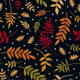 Embroidery seamless pattern with autumn leaves in different colors and first snowflakes. Colorful embroidered plants in fall. Season isolated on black vector illustration