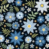 Embroidery seamless pattern with beautiful blue flowers. Elegant summer print. Fashion design. Vector embroidered illustration vector illustration