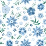 Embroidery seamless pattern with beautiful blue flowers on white background. Fashion design. Vector embroidered illustration royalty free illustration