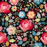 Embroidery seamless pattern with beautiful colorful flowers. Floral print with spanish motives. Manton shawl. Fashion design. Vector embroidered illustration royalty free illustration