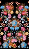 Embroidery seamless pattern with beautiful colorful flowers. Unusual floral design. Fashion print.  vector illustration