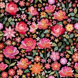 Embroidery seamless pattern with beautiful pink flowers. Ditsy floral print. Fashion design. Vector embroidered illustration.  royalty free illustration