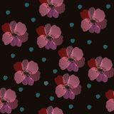 Embroidery seamless pattern. Beautiful poppy flowers and green spots on black background. Vector illustration. Fashion design.  stock illustration