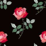 Embroidery seamless pattern with beautiful red roses. Fashion design for fabric. Vector illustration.  vector illustration