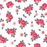 Embroidery seamless pattern with beautiful rose flowers on white background. Fashion design. Vector embroidered illustration stock illustration