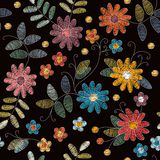 Embroidery seamless pattern. Beautiful summer flowers and leaves. On black background. Vector illustration. Fashion design vector illustration