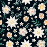 Embroidery seamless pattern with beautiful white flowers on black background. Summer print. Fashion design. Vector embroidered illustration stock illustration