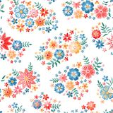 Embroidery seamless pattern. Colorful summer flowers and leaves on white background. Vector illustration. Fashion design.  stock illustration