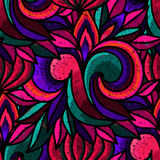 Embroidery. Seamless pattern - decorative embroidery with bright flowers. Hand-drawn illustration. Vector stock illustration