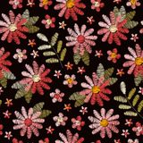 Embroidery seamless pattern with pink flowers and green leaves on black background. Romantic floral design for fabric. Textile, wrapping paper, print, cards vector illustration