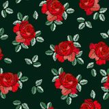 Embroidery seamless pattern in spanish style with red rose flowers on black background. Fashion design. Manton shawl. Vector illustration stock illustration