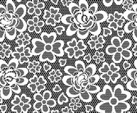 Embroidery seamless pattern. Vintage lace embroidery seamless pattern with abstract flowers on black background vector illustration