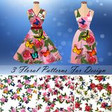 Dress with an trendy rose and butterflies design. Embroidery seamless rose and butterflies pattens with dress template. Romantic textile set. Summer dress or Royalty Free Stock Images