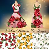Dress with an trendy rose design. Embroidery seamless rose pattens with dress template. Romantic textile set. Summer dress or night dress design Royalty Free Stock Photo