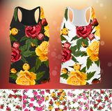 T-shirt with an trendy rose design. Embroidery seamless rose pattens with t-short template. Romantic textile set Stock Photography