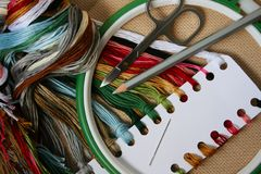 Embroidery set. A set for the embroidery (cross-stitch) with scissors and tambour Royalty Free Stock Photography