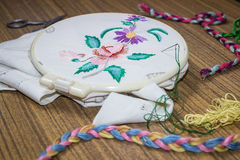 Embroidery. Sewing accessories. Canvas, hoop and thread mouline. Needlework Royalty Free Stock Photo