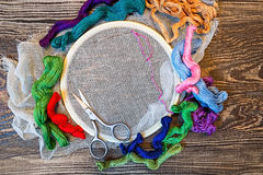 Embroidery. Sewing accessories. Canvas hoop thread mouline. Wooden background Stock Photos