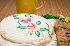 Embroidery. Sewing accessories. Canvas, hoop and thread mouline. Needlework Stock Photos